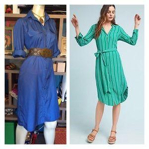 Vintage Silk Blue n Magenta Striped Shirt Dress